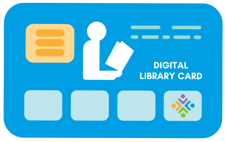 Blue Digital Library Card Graphic